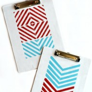 Stencil Painted Clipboard with Americana Multi-Surface Satins
