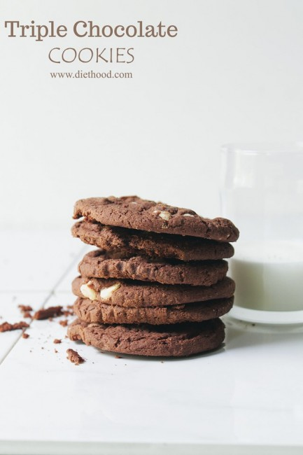 Triple Chocolate Cookies | www.diethood.com | www.anightowlblog.com | #cookies #chocolate #recipe