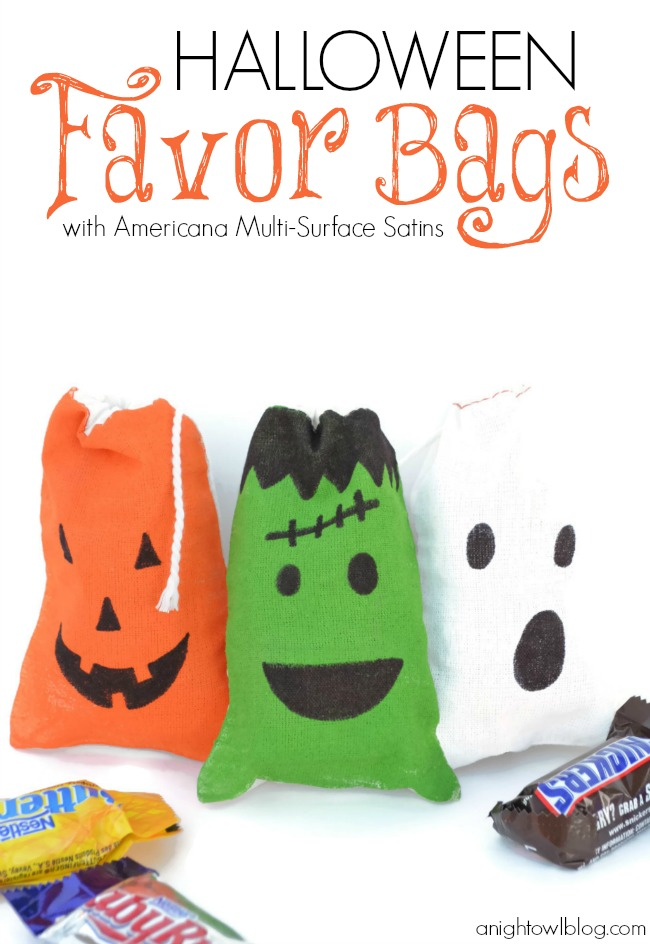 Cute and easy to make Halloween Favor Bags at anightowlblog.com | #halloween #candy #favors #party