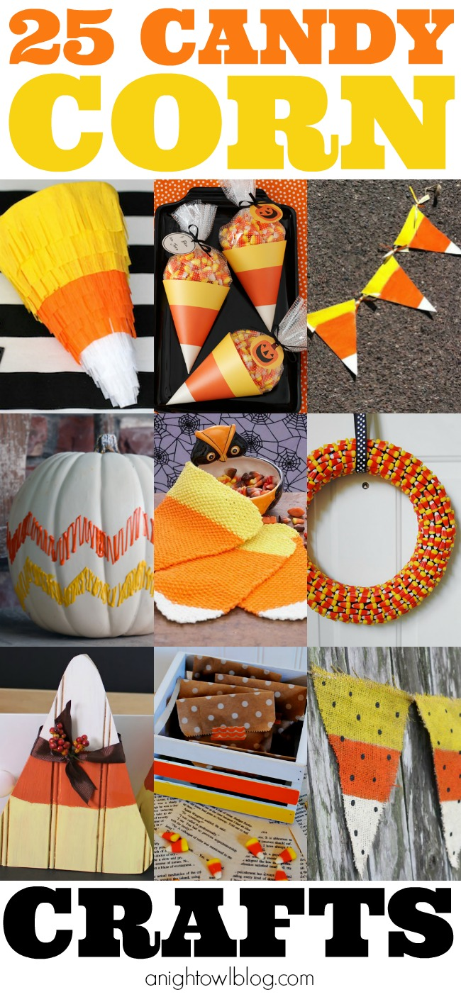 25 Candy Corn Crafts - Pumpkins, Pinatas and MORE at anightowlblog.com | #candycorn #crafts