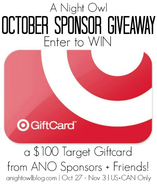Win a $100 Target Gift Card from A Night Owl October Sponsor Giveaway!