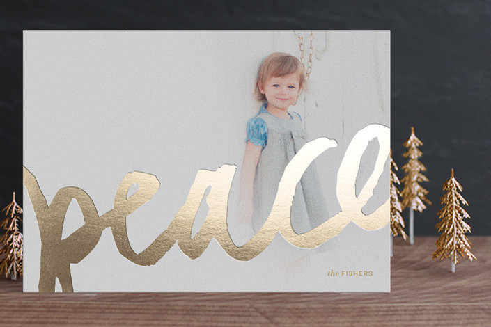 Brushed Gold Foil-Pressed Holiday Cards by Minted