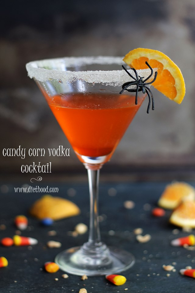 A perfectly spooky spirit for your Halloween party, our Candy Corn Vodka Cocktail features Homemade Candy Corn infused Vodka mixed with Orange Juice and Orange Liqueur.
