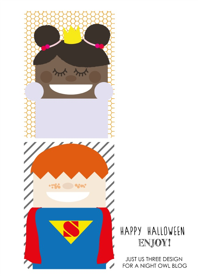Cool Kids Halloween Free Printable by Just Us Three at anightowlblog.com | #halloween #treats #favors #crafts