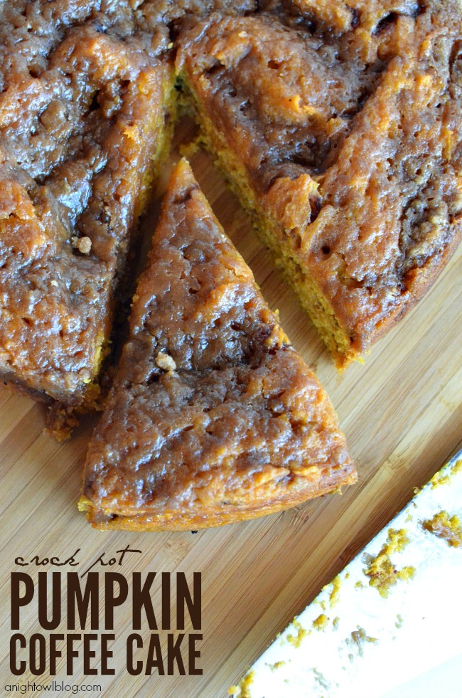 Easy Crock Pot Pumpkin Coffee Cake | anightowlblog.com