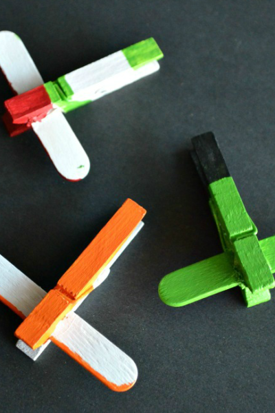 These Disney Planes DIY Mini Clothespin Airplanes are a fun craft for the kids!