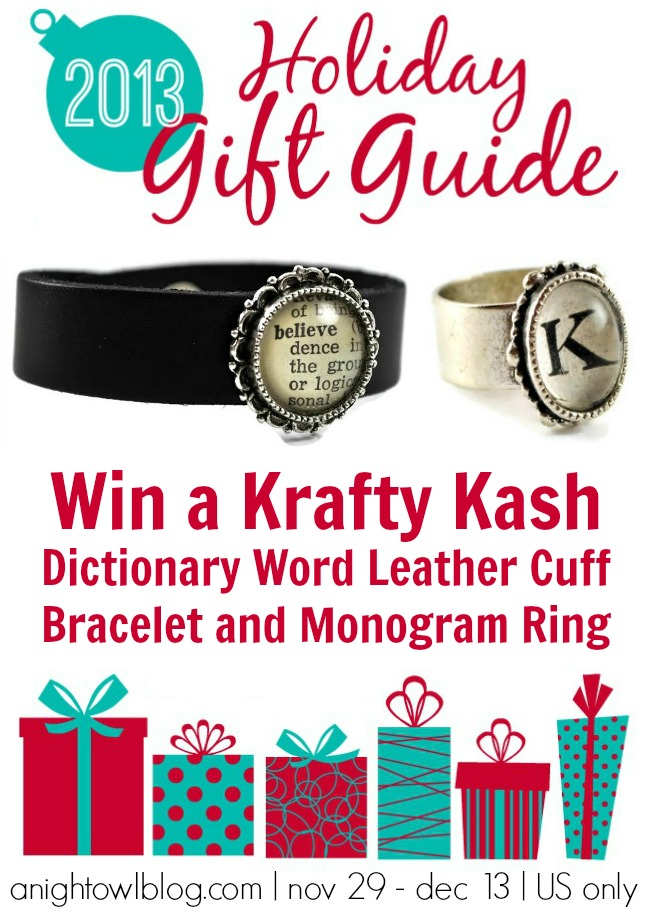 Win Krafty Kash Dictionary Word Leather Cuff Bracelet and Monogram Ring from the A Night Owl Gift Guide Giveaway!