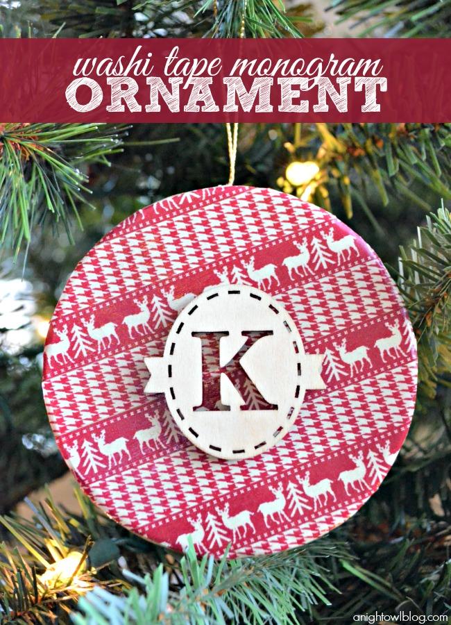 Washi Tape Monogram Ornament