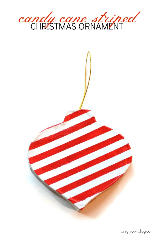Check out this fun and easy handmade Candy Cane Striped Christmas ornament made with #MarthaStewartCrafts! #12MonthsofMartha