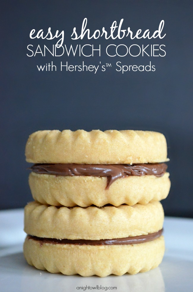 created these Easy Shortbread Sandwich Cookies using Hershey's ...