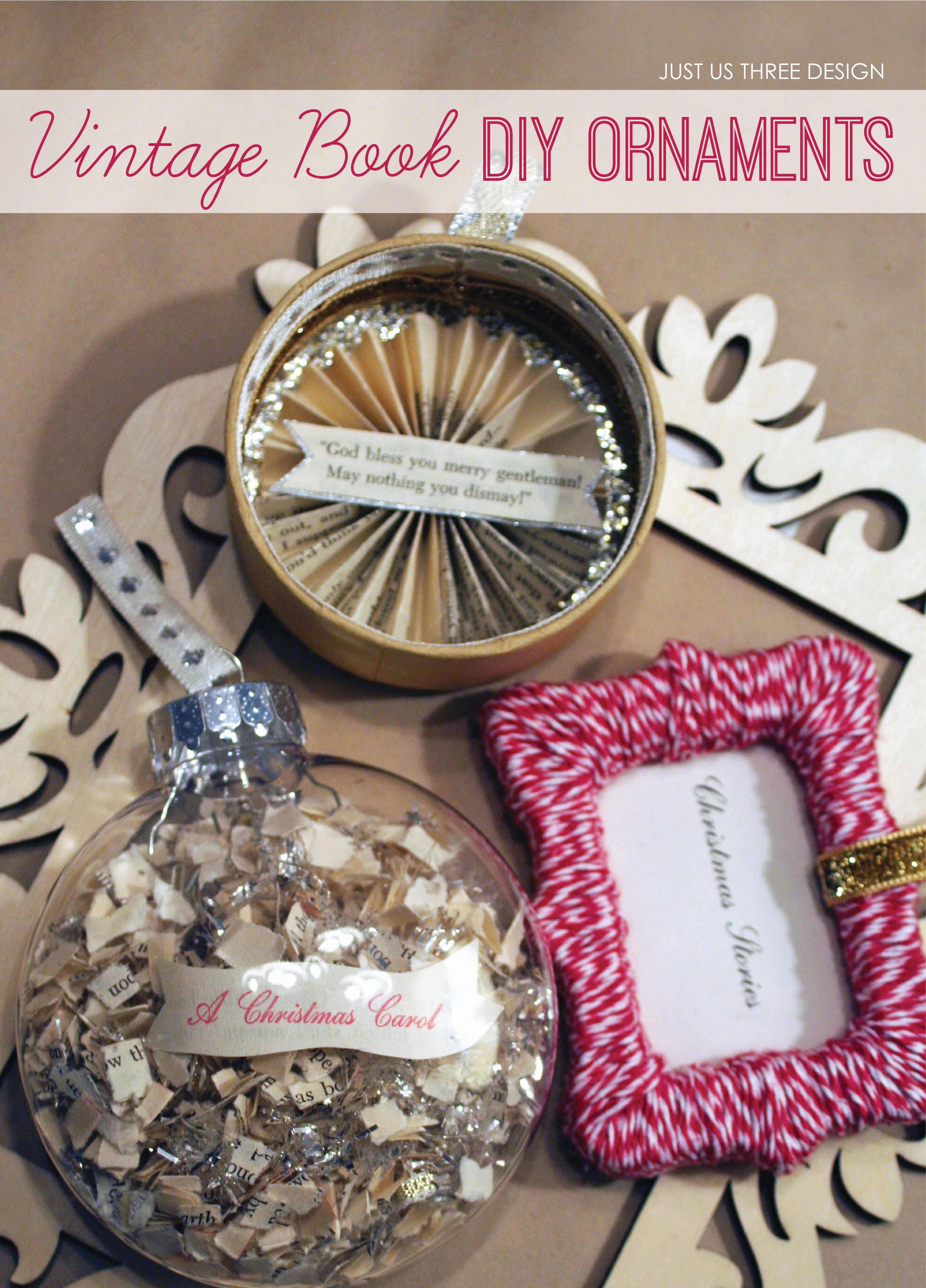 Diy retro christmas decorations - Just Us Three For Ano Diy Vintage Book Ornaments