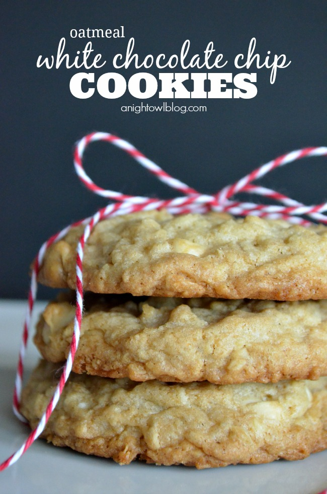 Oatmeal White Chocolate Chip Cookies - A Night Owl Blog
