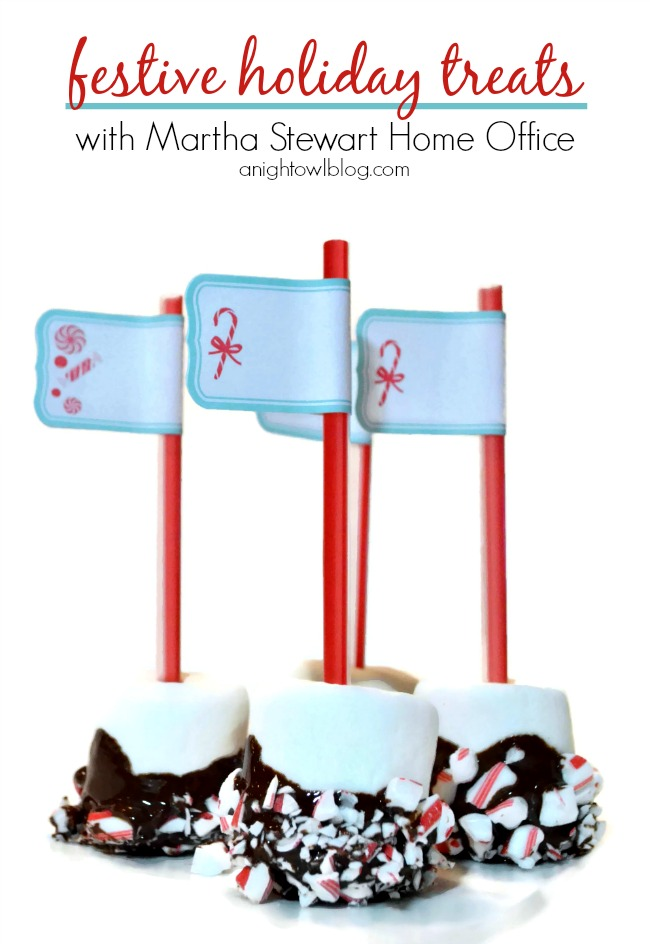 Peppermint Marshmallow Pops made with Martha Stewart Home Office labels!
