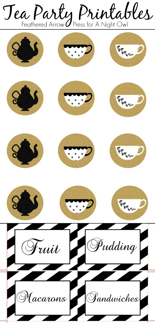 Adorable toppers and food label cards, perfect for throwing your very own tea party!