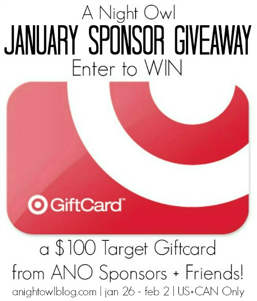 Win a $100 Target Gift Card from the A Night Owl January Sponsor Giveaway!