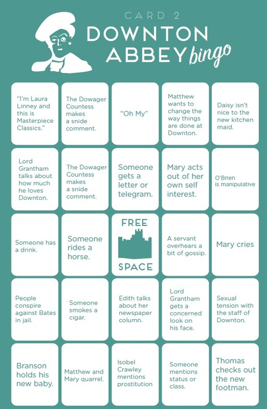Downton Abbey Bingo by Paste