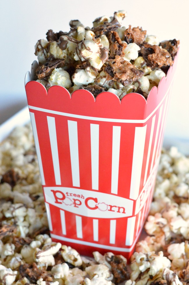 Gourmet Popcorn Recipes like this Chocolate Toffee Popcorn are the perfect addition to movie night! Pick up all the supplies you need at World Market!