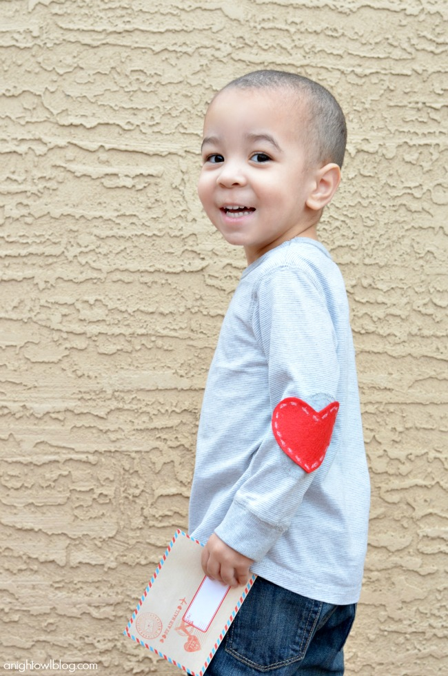 Add these no-sew Heart Elbow Patches to your clothes this year for easy Valentine's wear!