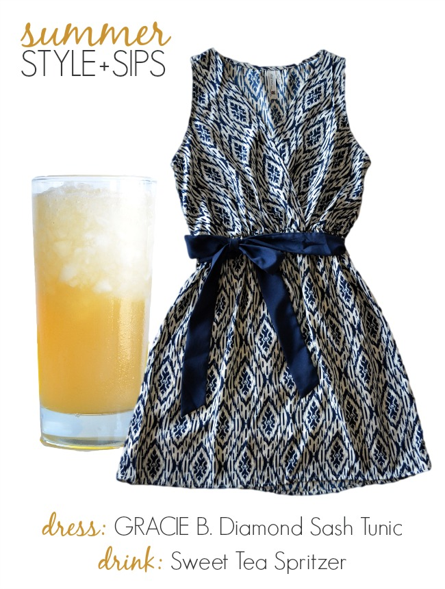 Summer Style and Sips: this Gracie B. Diamond Sash Tunic and Sweet Tea Spritzer make a sweet pair!