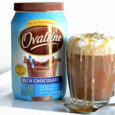 Easy Caramel Mocha Latte made with delicious Ovaltine Milk Chocolate!