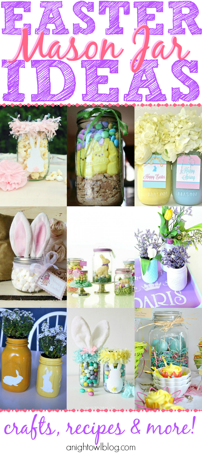 Easter Mason Jar Ideas - such a great list of easy and adorable Easter decor, crafts and more!