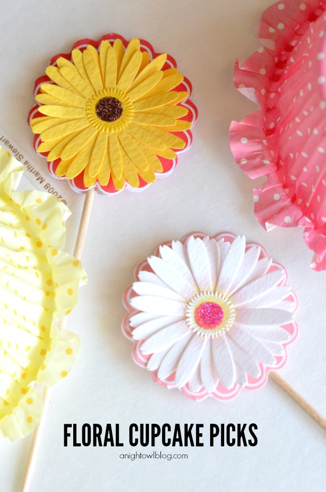Floral Cupcake Picks - embellish your cupcake picks in just a few easy steps!