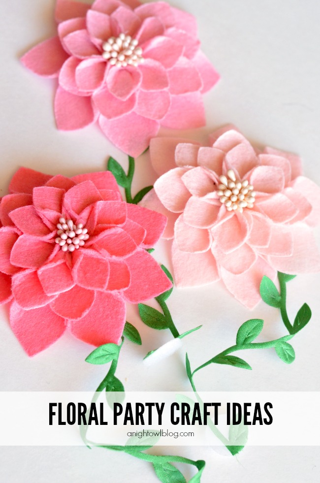 Floral Party Craft Ideas - pretty party supplies you can whip together in just a few easy steps!