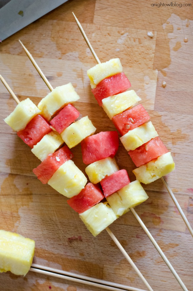 Pineapple and Watermelon Fruit Kabobs