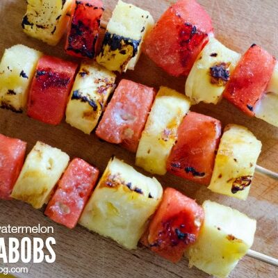Grilled Pineapple and Watermelon Fruit Kabobs | anightowlblog.com