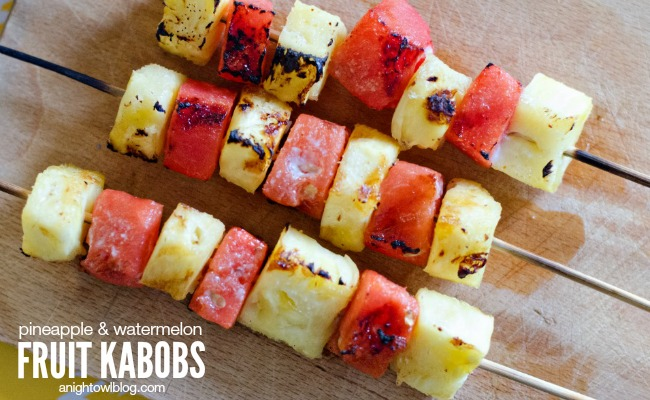 Grilled Pineapple and Watermelon Fruit Kabobs
