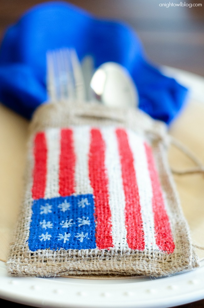 Painted Burlap Patriotic Place Settings