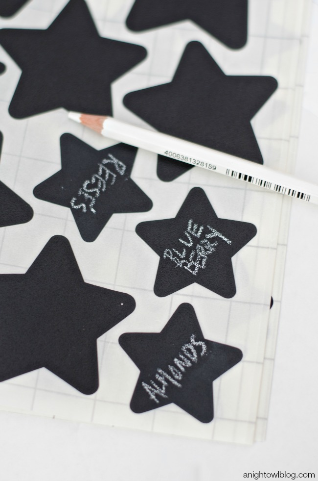 Chalkboard labels and chalk pencils from Bright Star Kids