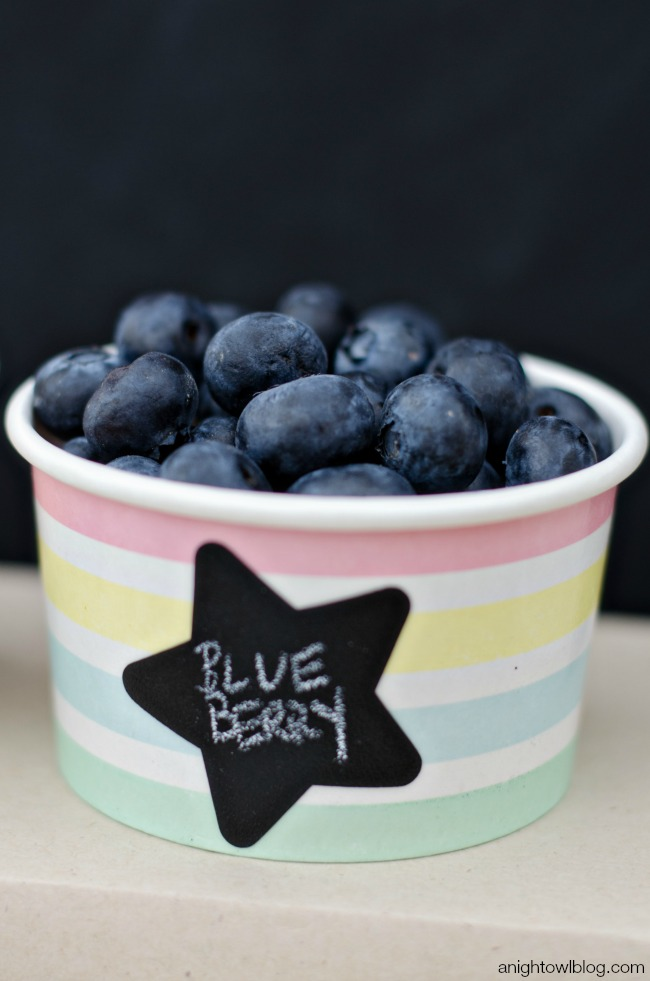 Yummy toppings and easy chalkboard labels for an Ice Cream Bar