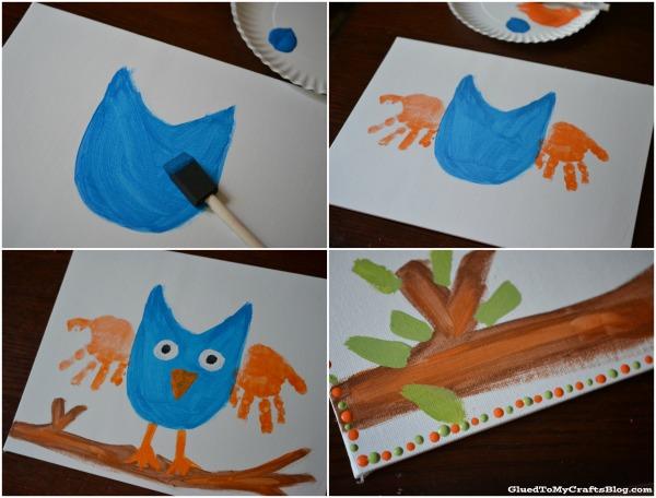 Handprint Owl Keepsake Kid Craft | anightowlblog.com