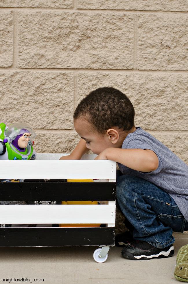DIY Wooden Crate Toy Box | anightowlblog.com