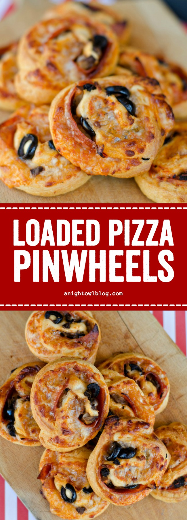 Loaded Pizza Pinwheels made with crescent rolls and stuffed with pizza toppings are a delicious and easy after school snack for your kiddos! #pinwheels #snacks