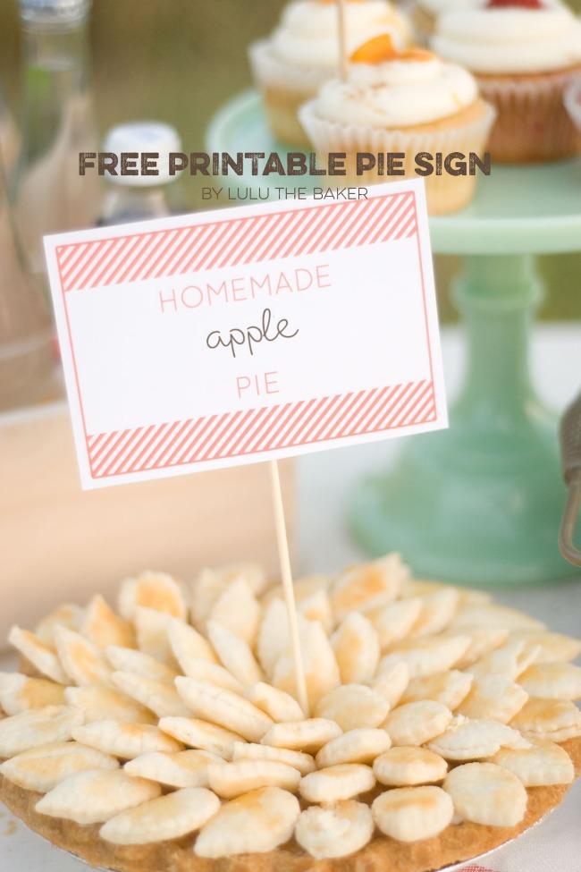 Printable Pie Sign
