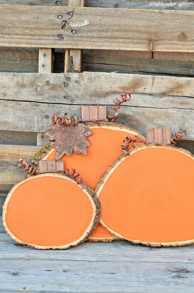 Wood Slice Pumpkins - A Night Owl Blog