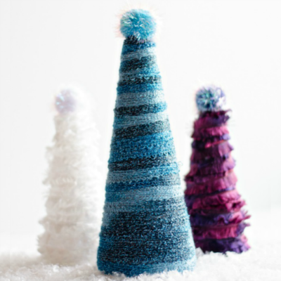 Frozen Inspired Yarn Wrapped Christmas Trees | anightowlblog.com