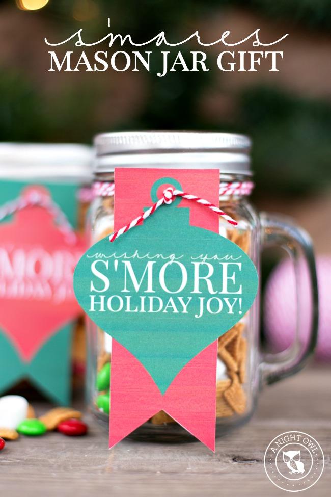 S'mores Mason Jar Gift | anightowlblog.com