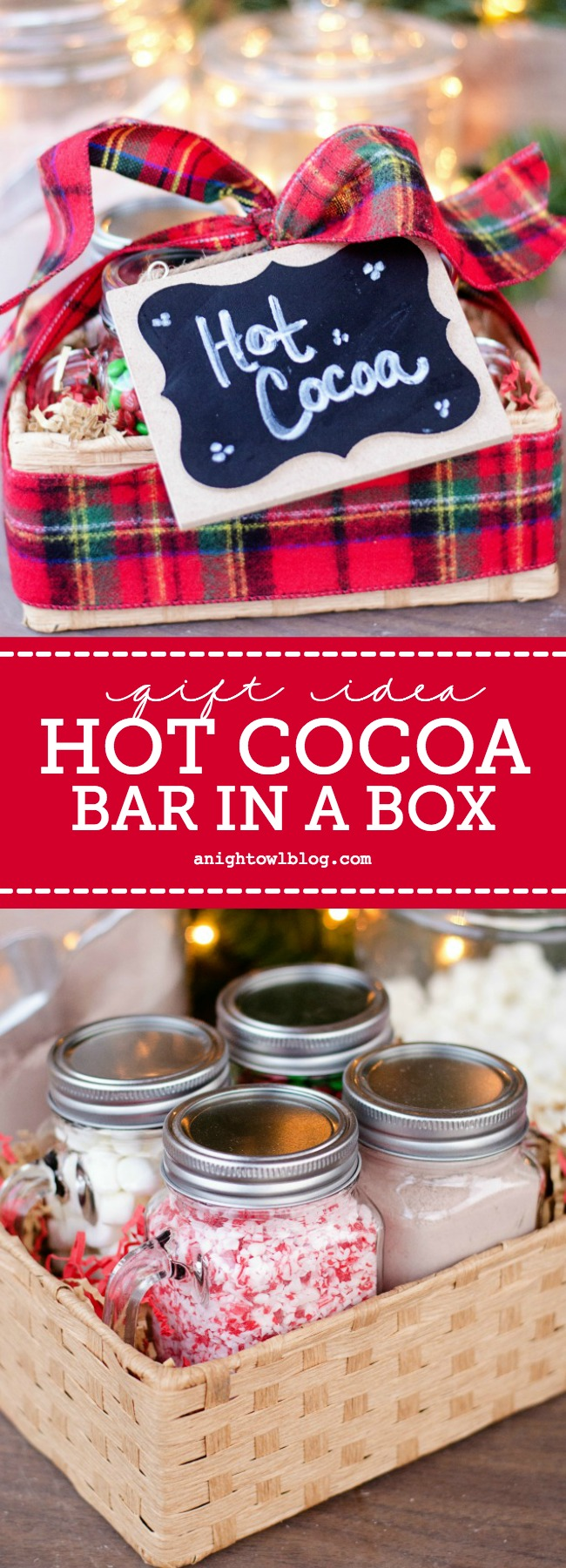 Looking for a fun and unique semi-homemade gift this holiday season? Put together an adorable Hot Cocoa Bar in a Box!