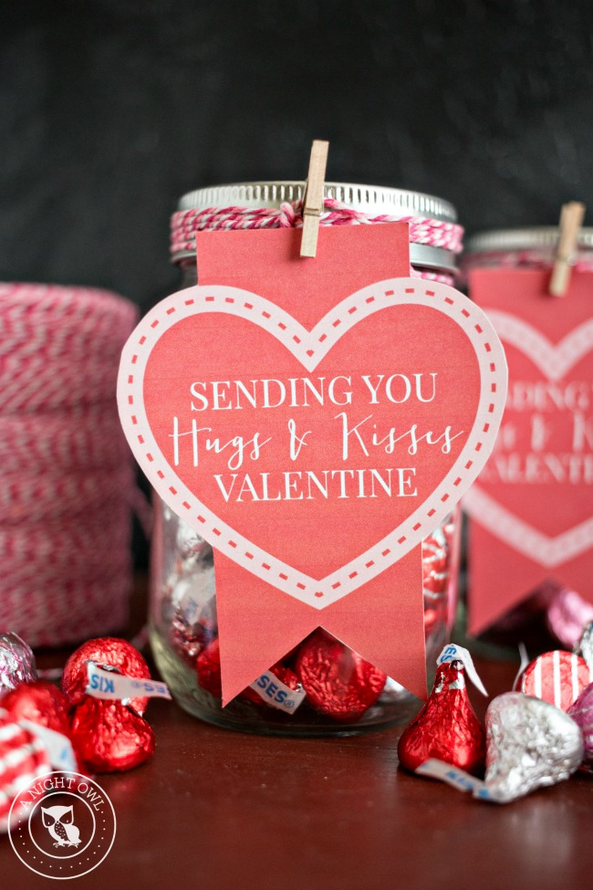 hugs and kisses mason jar valentines | a night owl blog, Ideas