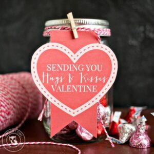 Hugs and Kisses Mason Jar Valentines