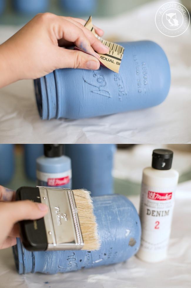 denim painted mason jars. Black Bedroom Furniture Sets. Home Design Ideas