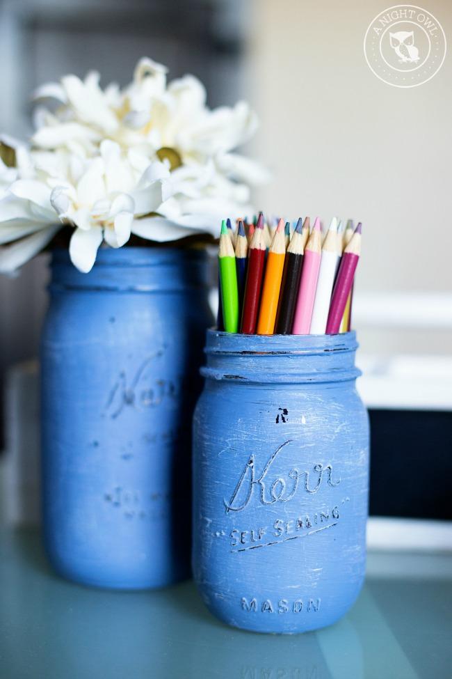 Denim Painted Mason Jars | anightowlblog.com