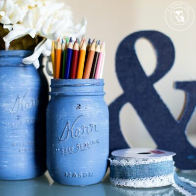 Denim Painted Mason Jars | anightowlblog.com