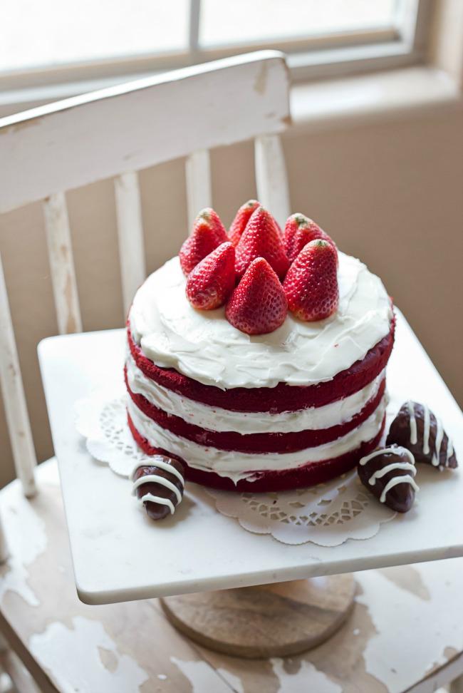Easy Naked Red Velvet Cake | anightowlblog.com