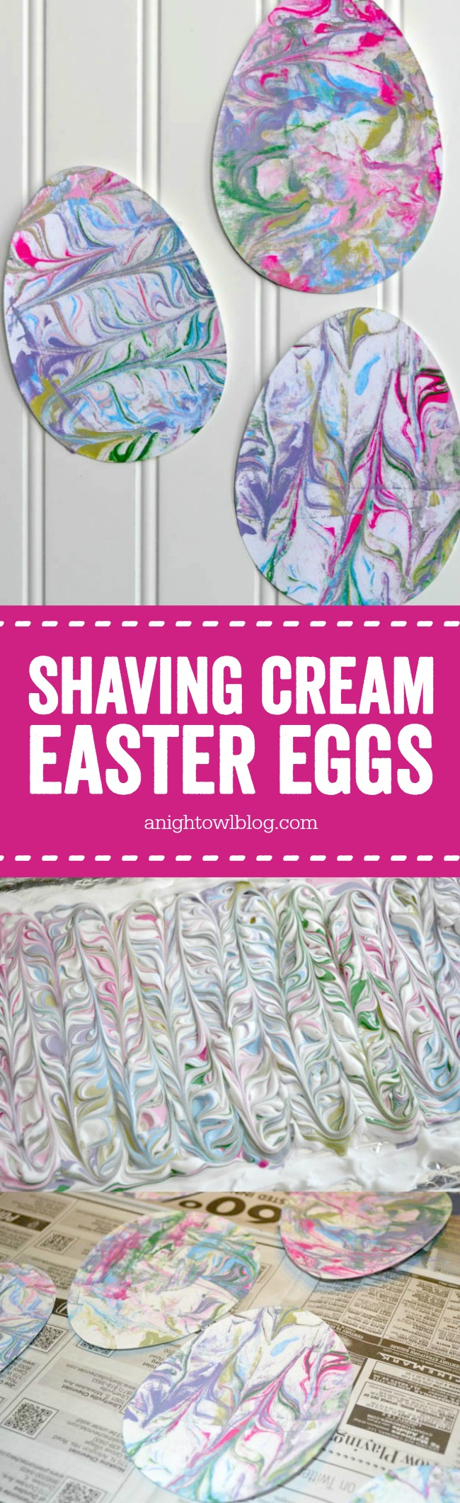 These Shaving Cream Painted Easter Eggs are such a fun and easy sensory Easter Craft for the kiddos!