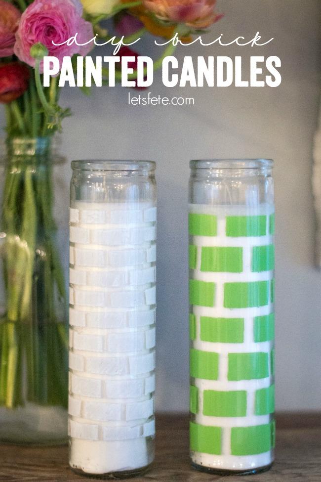 DIY Brick Painted Candles | anightowlblog.com