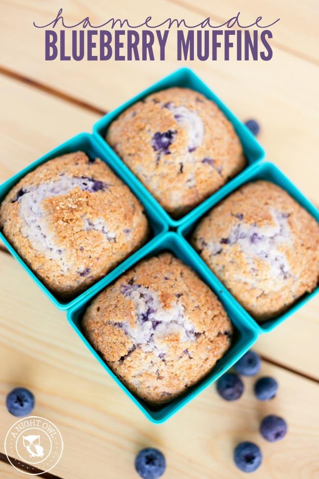 Homemade Blueberry Muffins | anightowlblog.com